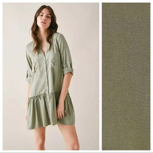 NWT. Zara Green Mini Shirt Dress. Size M.